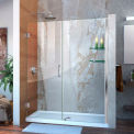 "DreamLine™ Unidoor Frameless Adjustable Shower Door SHDR-20597210S-01 W/Glass Shelves, 59""-60"""