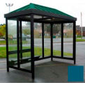 Heavy Duty Bus Smoking Shelter Hip Roof 4-Sided Right Front Open 6' x 12' Regal Blue Roof