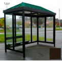 Heavy Duty Bus Smoking Shelter Hip Roof 4-Sided Right Front Open 6' x 12' Dark Bronze Roof