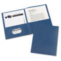 Two-Pocket Portfolios, Embossed Paper, 30-Sheet Capacity, Dark Blue, 25/Box