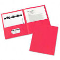 Two-Pocket Portfolios, Embossed Paper, 30-Sheet Capacity, Red, 25/Box