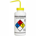 Bel-Art 118320015 Wash Bottle, LDPE, 1000ML, Sodium Hypochlorite, 2/Pk, Yellow Cap