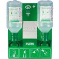 PLUM 248804002 Eye Wash Station, Open, Wall-Mount, 500ML 0.9% Saline, 2 Bottles