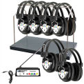 Wireless Listening Center 6 Station w/ Headphones & Trans, Headphone Rack