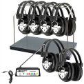 HamiltonBuhl Wireless 6 Person Listening Center w/ Transmitter, Wireless Headphones & Rack