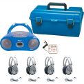 HamiltonBuhl 4 Person Listening Center w/ Bluetooth® CD/Cassette/Boombox & Deluxe Headphones