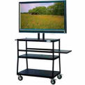 "Flat Panel AV Cart w/ 2 Shelves, Holds Up To 47"" Panel, Slide-Out Shelf"