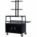 "Flat Panel AV Cart w/ Locking Cabinet, Holds Up To 55"" Panel"