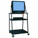 "Super Wide Body Media Cart, 44"" High w/ Electric"