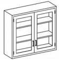 Blickman 47x13x30 2 Shelf, Glass Double Door Wall Medical Cabinet
