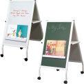 Balt® White Magnetic Instructional Chalk and Marker Mobile Easel