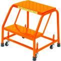 "Grip 16""W 2 Step Steel Rolling Ladder 20""D Top Step - Orange - 21820GSU-O"