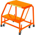 "Perforated 16""W 2 Step Steel Rolling Ladder 20""D Top Step - Orange - 21821PSU-O"