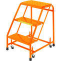 "Perforated 16""W 3 Step Steel Rolling Ladder 20""D Top Step - Orange - 31820PSU-O"