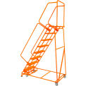 "Perforated 16""W 7 Step Steel Rolling Ladder 14""D Top Step W/ Handrails - Orange - FSH718P-O"