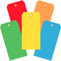 "13 Pt. Shipping Tags, #5, 4-3/4"" x 2-3/8"", Assorted Colors - 1000 Pack"