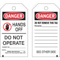 """Brady® 86522 Danger Hands Off Do Not Operate tag, 2 sided, 10/Pkg, Polyester, 3""""W x 5-3/4""""H"""