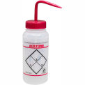 Bel-Art LDPE Wash Bottles 116460622, 500ml, Acetone Label, Red Cap, Wide Mouth, 6/PK