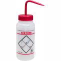 Bel-Art LDPE Wash Bottles 116460622, 500ml, Acetone Label, Red Cap, Wide Mouth, 6/PK