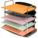 "5-Pocket Horizontal Desk Trays 12"" x 8-1/2"" x 11-1/4"" Charcoal"