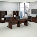 """Bush Business Furniture 120""""W x 48""""D Boat Shaped Conference Table with Wood Base in Mocha Cherry"""