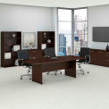 """Bush Business Furniture 96""""W x 42""""D Boat Shaped Conference Table with Wood Base in Mocha Cherry"""