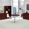 """42"""" Round Conference Table w/Metal Disc Base, Harvest Cherry"""
