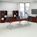 """120""""L x 48""""W Boat Top Conference Table w/Metal Base, Harvest Cherry/Silver"""
