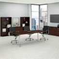 """Bush Business Furniture 96""""W x 42""""D Boat Shaped Conference Table with Metal Base in Mocha Cherry"""