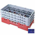 """Cambro 10HS638186 - Camrack  Glass Rack 10 Compartments 6-7/8"""" Max. Height Navy Blue NSF - Pkg Qty 3"""
