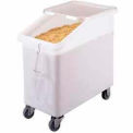 Ingredient Bin, Mobile, 27 Gallon Capacity, White with Clear Cover