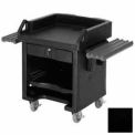Versa Cash Register Cart Lockable Center Drawer, Black w/ Tray Rails