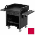 Versa Cash Register Cart Lockable Center Drawer, adjusTable Shelf and Rails, Hot Red