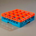 OptiClean™ 16-Compartment Glass Rack W/ 1 Extender  - Orange-Carlisle Blue