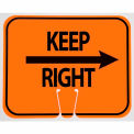 Cone Sign- Keep Right, Black On Orange w/ Arrow
