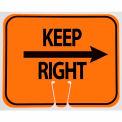Cone Sign- Keep Right, Black On Orange W/ Arrow - Pkg Qty 5