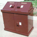 BearSaver H/A® Series 80 Gal. Animal Resistant Double Receptacle - Brown