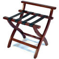 Premier Curved Wood High Back Luggage Rack, Mahogany, Black Straps, 1 Pack