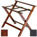 Deluxe High Back Wood Luggage Rack, Cherry Mahogany, Black Straps 3 Pack