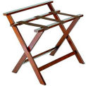 Deluxe High Back Wood Luggage Rack, Dark Oak, Brown Straps 1 Pack