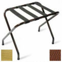 Flat Top Brasstone Luggage Rack with Brown Straps, 1 Pack