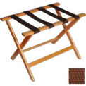 Deluxe Flat Top Wood Luggage Rack, Light Oak, Brown Straps 1 Pack