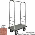 "Easy Mover Bellman Cart Chrome, Tan Carpet, Black Bumper, 8"" Gray Pneumatic"