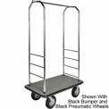 "Easy Mover Bellman Cart Chrome, Gray Carpet, Gray Bumper, 8"" Poly"