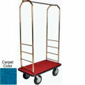 "Easy Mover Bellman Cart Brass, Blue Carpet, Black Bumper, 8"" Black Pneumatic"