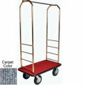 "Easy Mover Bellman Cart Brass, Gray Carpet, Black Bumper, 8"" Pneumatic"