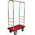 "Easy Mover Bellman Cart Brass, Red Carpet, Black Bumper, 8"" Black Pneumatic"