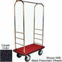 Easy Mover Bellman Cart Brass, Black Carpet, Black Bumper, 8