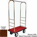 Easy Mover Bellman Cart Brass, Brown Carpet, Black Bumper, 8