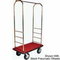 Easy Mover Bellman Cart Brass, Red Carpet, Black Bumper, 5